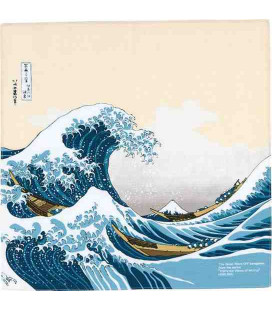 Yamada Seni Musubi - Japanese cloth- Ukiyo-e Under The Wave Off Kanagawa Beige- 100% cotton