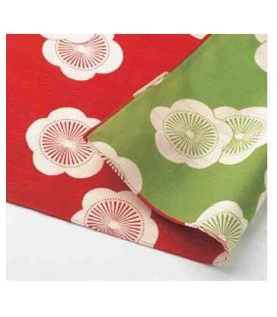 Yamada Seni Musubi - Japanese cloth - Reversible (red and green)- 100% cotton