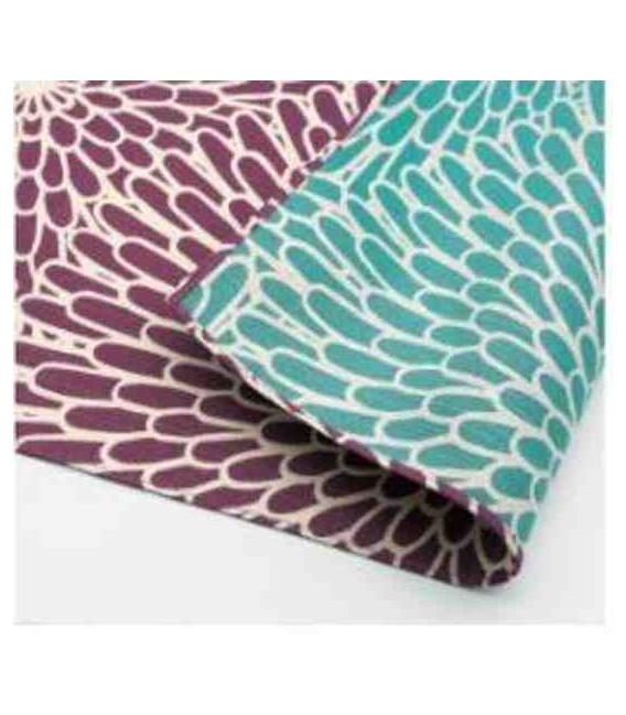 Yamada Seni Musubi - Japanese cloth - chrysanthemum -Reversible (purple and blue)- 100% Algodón