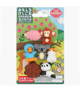 Iwako Puzzle Eraser - Animals in Forest - (Erasers with different designs) Made in Japan