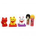 Iwako Puzzle Eraser - Doll & Lucky Cat - (Erasers with different designs) Made in Japan