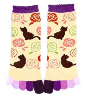 Five finger socks for women – Kurochiku (Kyoto) – Nekotobara Model – (one size 23-25cm)