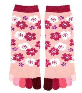 Five fingers socks for women – Kurochiku (Kyoto) – Sakura Model – (one size 23-25cm)