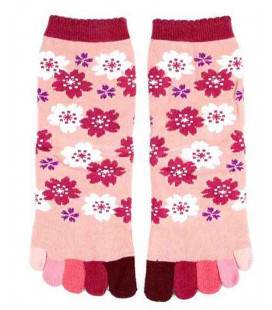 Five fingers socks for women – Kurochiku (Kyoto) – Sakura Model – (one size 23-25cm)