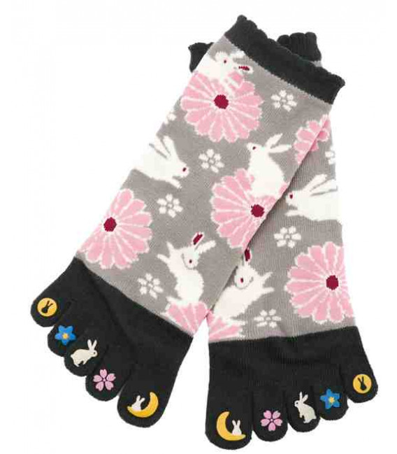 Five fingers socks for women – Kurochiku (Kyoto) – Usagi Model – (one size 23-25cm)