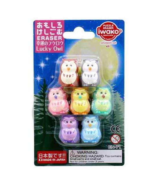 Iwako Puzzle Eraser - Lucky Owl - (Gomas de borrar con diseños) Hecho en Japón