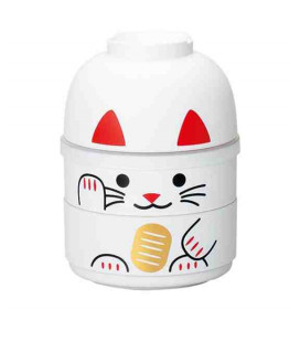 Hakoya Kokeshi Bento - Size M - Model 52677-6 - Maneki-Neko - (White color)