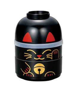 Hakoya Kokeshi Bento -Size M - Model 52678-3- Maneki-Neko - (Black color)