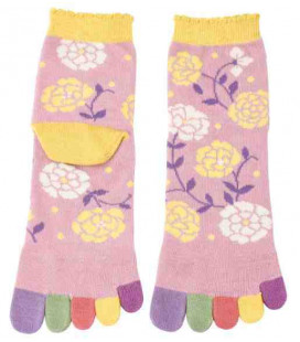 Five finger socks for women - Kurochiku (Kyoto)- Hana Model (One size 23-25 cm)