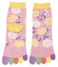 Five finger socks for women - Kurochiku (Kyoto)- Hana Model (One size 23-25 cm)