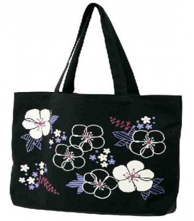 Japanese bag Kurochiku (Kyoto)- Black flowers model