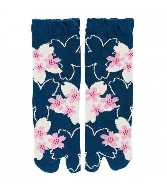 "Flip flop socks for women ""Tabi"" - Kurochiku (Kyoto)- SakuraDukushi Model (One Size 23-25 cm)"