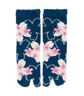 "Flip flop socks for women ""Tabi"" - Kurochiku (Kyoto)- SakuraDukushi Model (One Size 23-25 cm)"