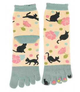 Five finger socks for women - Kurochiku (Kyoto)- Yumemineko Model (One size 23-25 cm)