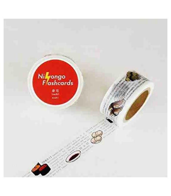 """Japanese adhesive tape """"Nihongo flashcards"""" - Sushi"""