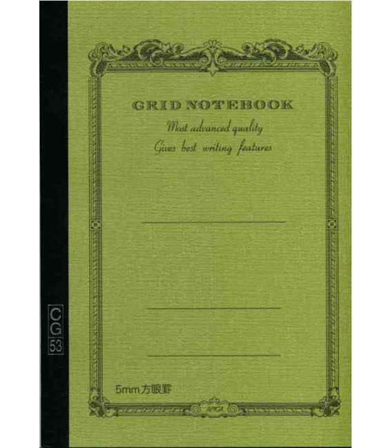 Apica CG53-MG Notebook (A5 Size - khaki green color - Squared - 52 pages)