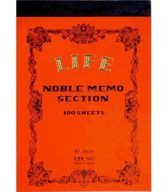 Life Noble Memo - N40 (B7 Size - Orange - Squared - 100 Sheets)