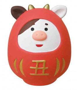 Decole - Red Daruma ushi made in ceramic - Concombre Fuku Mono - Model ZSG-43703