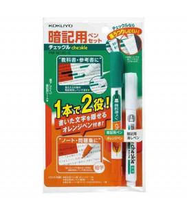 Double tip pen, corrector and semitransparent red plastic sheet Kokuyo (green/Orange) Includes semitransparent red plastic sheet