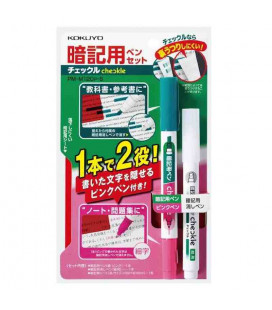 Double tip pen, corrector and semitransparent red plastic sheet Kokuyo (green/pink) Includes semitransparent red plastic sheet