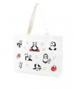 Japanese bag Kurochiku - Model Tote Yoga panda - 100% cotton